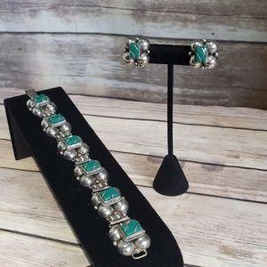 Vtg Mexican silver bracelet & earring set
